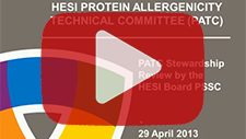 April 29, 2013: Protein Allergenicity Technical Committee