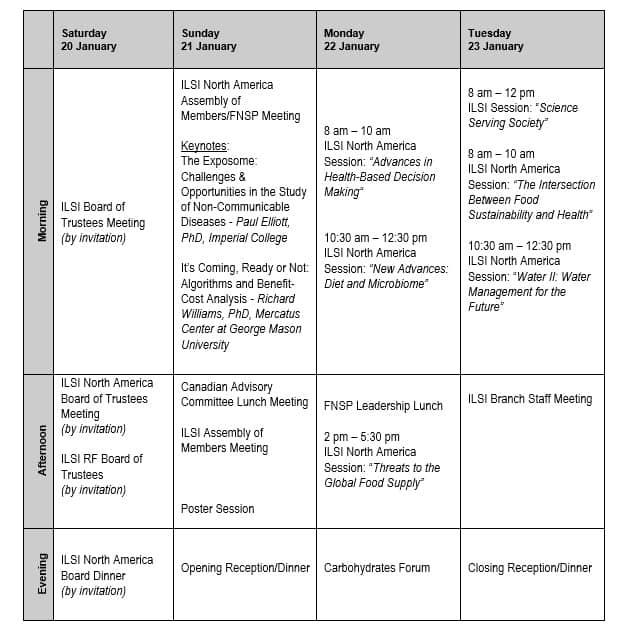 2018 Annual Mtg schedule 11-21-17