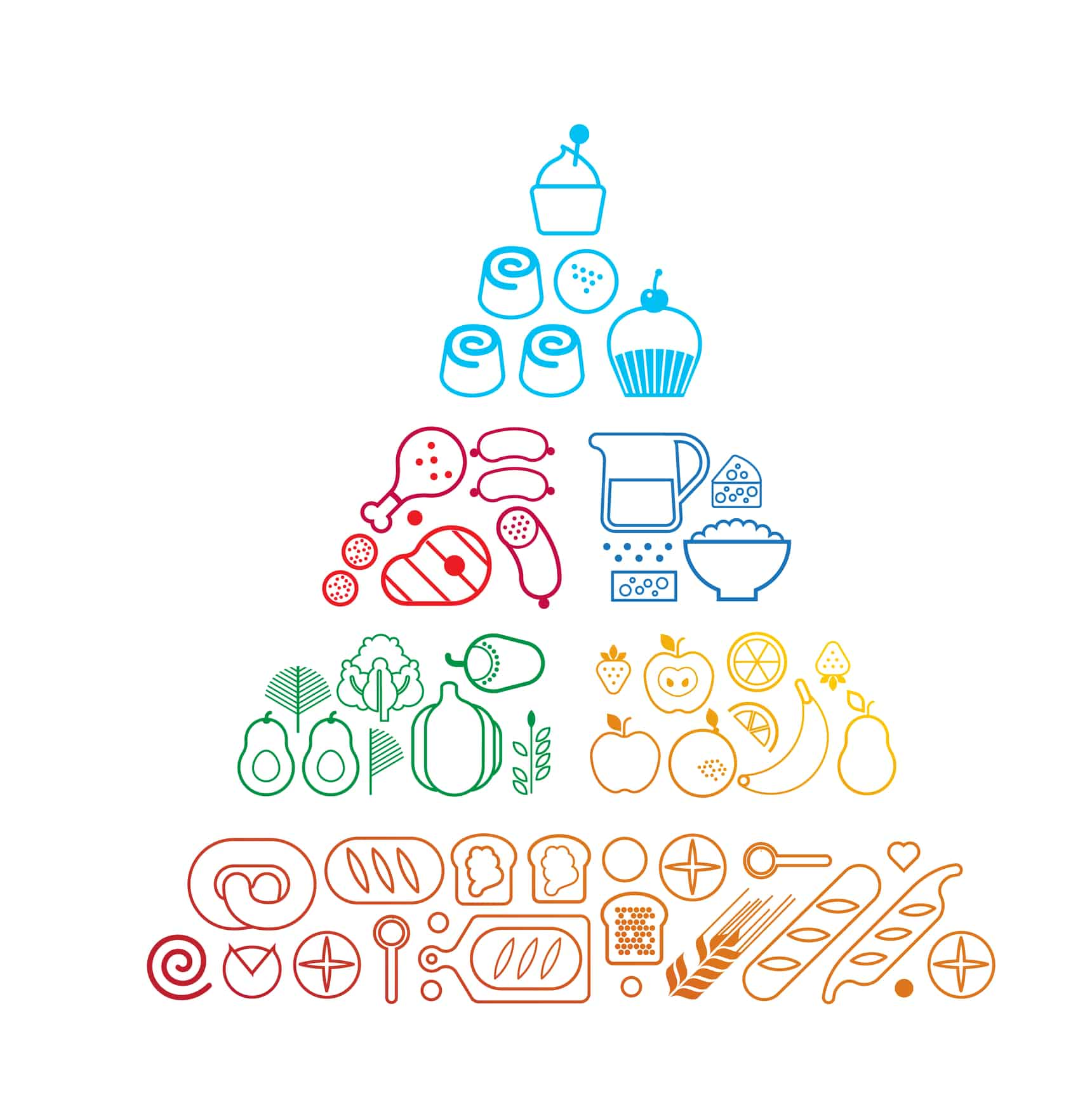 Food pyramid healthy eating infographic made of food line icons. Recommendations of a healthy lifestyle. Icons of products. Vector illustration