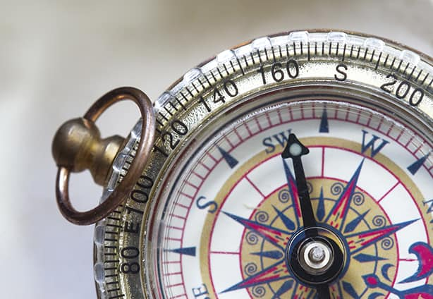 Close up shot of a compass use in navigation and metaphor for success.