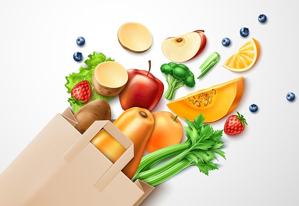 Healthy food from organic shop, farm market concept. Realistic vegetables, vector fruits from paper shopping bag. Broccoli, pumpkin, apple slice strawberry and blueberry, celery and salad orange slice